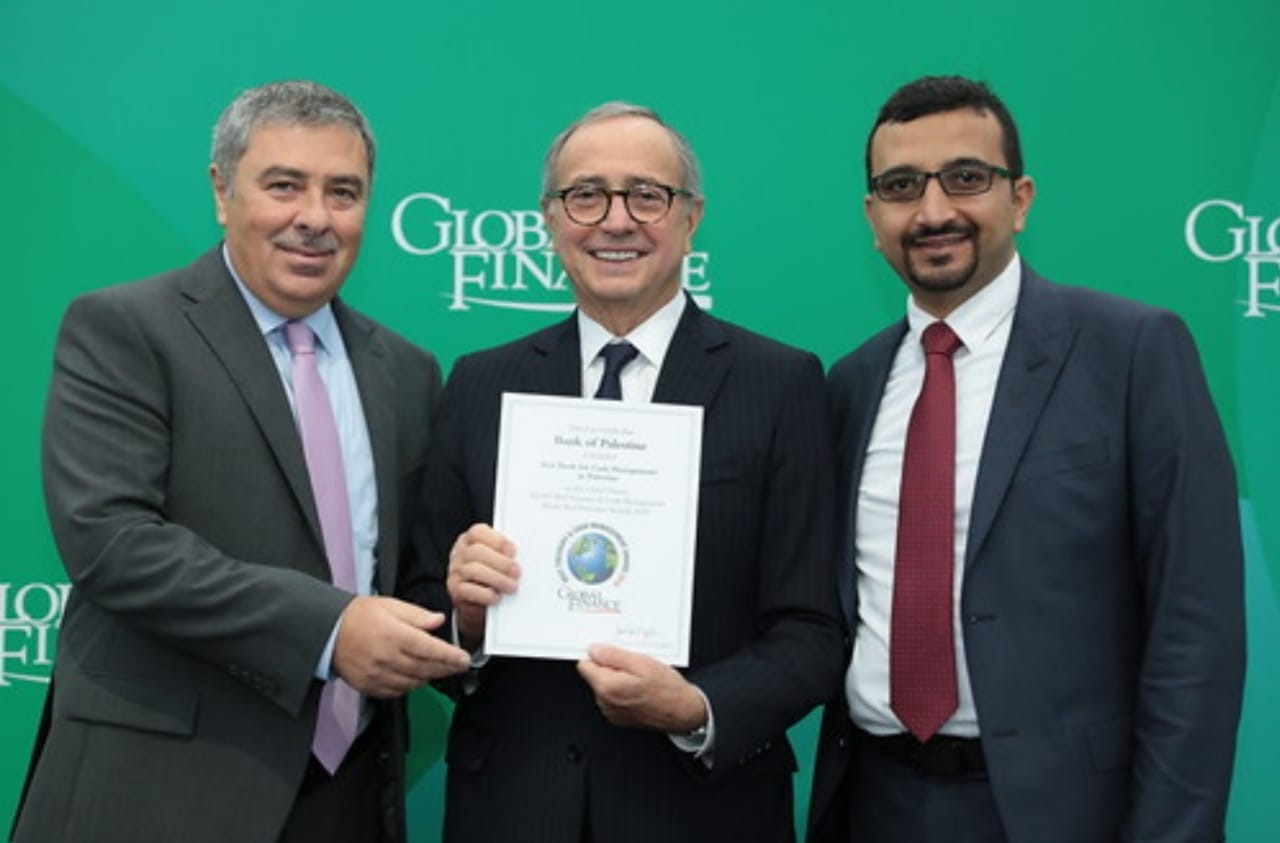 بنك فلسطين يحصل على جائزة أفضل بنك في فلسطين مجال الخزينة وإدارة النقد من مجلةGlobal Finance  العالمية للعام 2019