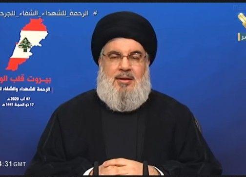 """نصر الله: أنفي """"نفيا قاطعا"""" امتلاكنا أي شيء في مرفأ بيروت"""