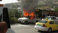 إصابة مستوطن جرّاء حرق سيارته في حوارة