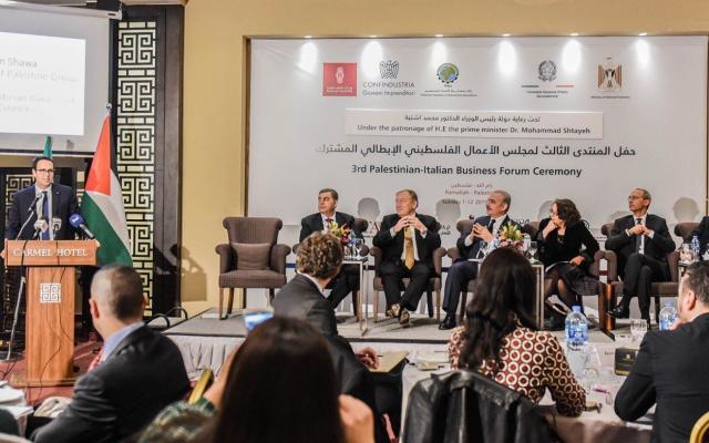 انعقاد المنتدى الِثالث لمجلس الأعمال الفلسطيني الإيطالي المشترك في رام الله بحضور رئيس الوزراء ورجال الأعمال