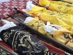 تشييع مهيب لشهداء مجزرة عائلة أبو ملحوس في دير البلح