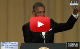 """Embedded thumbnail for أوباما يرمي الميكروفون في """"العشاء الأخير"""" مع الصحافيين"""
