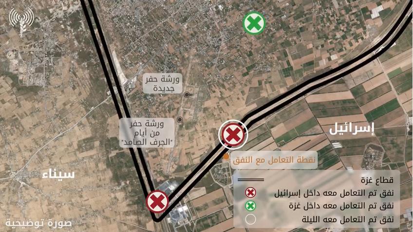 """الاحتلال يعلن """"إحباط"""" محاولة حماس تجديد حفر نفق هجومي في منطقة كرم أبو سالم"""
