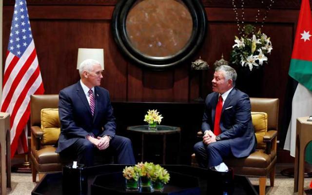 العاهل الأردني لـ بنس:حل الدولتين هو الطريق لحل شامل للقضية الفلسطينية